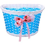 OUTERDO Girls Bike Bicycle Cycling Front Basket Flowery Shopping Stabilizers Children Kids
