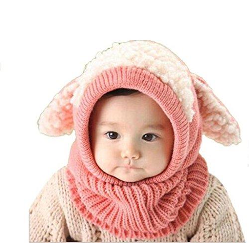 Maolanku Bambino Caldo Inverno Lana Coif Cappuccio Sciarpa Cappelli (Rosa)