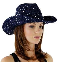 Glitter Sequin Trim Cowboy Hat (Navy Blue)