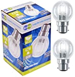 4 x Eco Halogen Energy Saving Mini Golf Balls Globes 42W = 60w BC B22 Classic Clear Round, Dimmable Light Bulbs Lamps, G45, Mains 240V