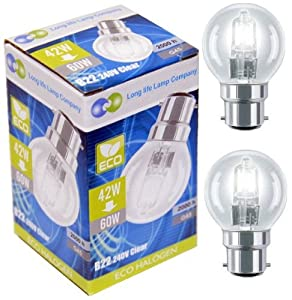 2 x Eco Halogen Energy Saving Mini Golf Balls Globes 42W = 60w BC B22 Classic Clear Round, Dimmable Light Bulbs Lamps, G45, Mains 240V