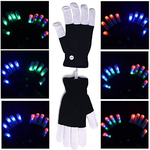 LightDay Flashing LED Colorful gloves 6 Colors Light Show finger -one pair(black white)