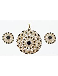 DollsofIndia Faux Zirconia And Garnet Stone Studded Pendant And Earrings - Metal - Red