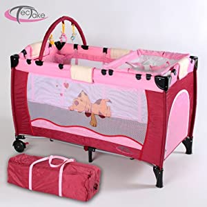TecTake Portable Child Baby Travel Cot Bed Playpen with Entryway Pink by TecTake