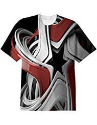 Snoogg Red And White Star Mens Casual All Over Printed T Shirts Tees