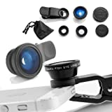 Universal 3 in 1 Camera Lens Kit for Smart phones (including iPhone, Samsung Galaxy, HTC, Motorola and More), Tablets, iPad, and Laptops includes One Fish Eye Lens / One 2 in 1 Macro Lens and Wide Angle Lens / One Universal Clip / One Microfiber Carrying Bag / with Camkix® retail packaging (Black)