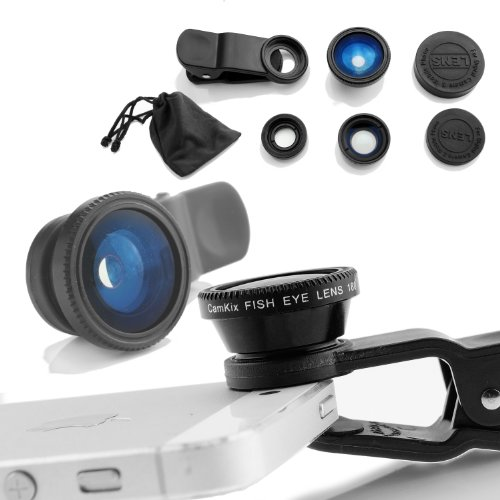 Camkix Universal 3 in 1 Camera Lens Kit for Smart phones (iphone, Galaxy, HTC, Motorola), Ipad, Ipod touch, Laptops / One Fish Eye Lens / One 2 in 1 Macro Lens and Wide Angle Lens / One Universal Clip / One Microfiber Carrying Bag with Retail packaging(Black)