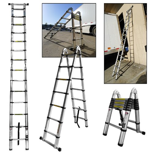 Arksen Brand 14.5 Feet A-Type Multi-Purpose Extension Aluminum Telescopic Telescoping Ladder En131 Certified Painting/Cleaning