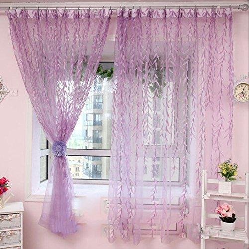 WensLTD(TM)Willow Tulle Window Curtain Drape Sheer Valances(100X200cm) (Purple)