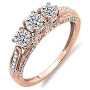 1.00 Carat (ctw) 14K Rose Gold Diamond Vintage Bridal 3 Stone Engagement Ring 1 CT (Size 6)