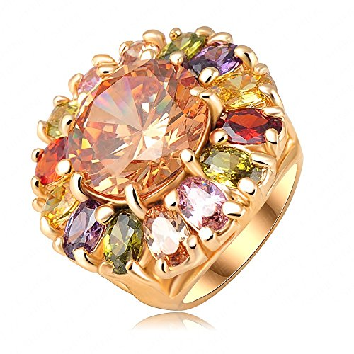 K-Design Beautiful Nice Flower Ring 18K Gold Plated Girl Rings Made With Colourful Swa Elements Austrian Crystals 23*25Mm Ri-Hq0295 8.0