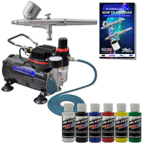 Master Airbrush® Brand Complete Airbrush System with Paint. G22 Airbrush, Air Compressor, 6' Air Hose, 2-oz Bottles of Createx Premium Artist Paint in Black, Red, Blue, Yellow, Green & White. The Kit Now Includes a (FREE) How to Airbrush Training Book to Get You Started, Published Exclusively By Master Airbrush.
