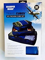 Sharper Image Travel Cubes - 3 Pc Packing Cube Set - Blue