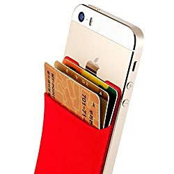 Sinjimoru B2 Stick-On Wallet making Your iPhone or iPhone case into iPhone Wallet Case, iPhone Card Case and iPhone case with a card holder for iPhone 6 / 6 plus / 5 / 5s / 5c / 4 / 4s. Android Smartphones, too. Sinji Pouch Basic 2, Red.