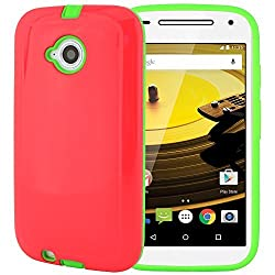 Moto E 2nd Gen. Case CellJoy [Shell Armor] {Hot Pink & Lime Green} Motorola Moto E2 2nd Generation XT1527 / XT1511 2015 Release Model Case (WILL NOT FIT MOTO E 1st Gen) Hybrid Ultra Fit [TPU] Dual Protection ***Shockproof*** Slim Cover - Hard Case for Moto E2