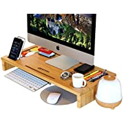 Royal Craft Wood Computer Monitor Stand Riser - Laptop Stand and Desk Organizer with Keyboard Storage and IPad Tablet Cellphone Slots - Stylish Bamboo Printer iMac LCD TV PC Monitor Stands
