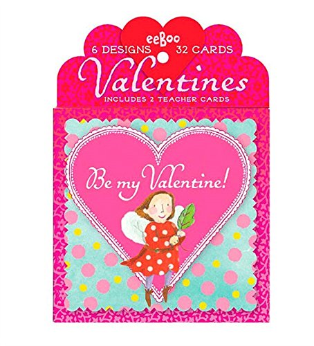 eeBoo Happy Valentine's Day Cards, Set of 32, in Fairies