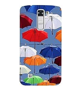 Colourful Umbrellas 3D Hard Polycarbonate Designer Back Case Cover for LG K10 :: LG K10 Dual SIM :: LG K10 K420N K430DS K430DSF K430DSY