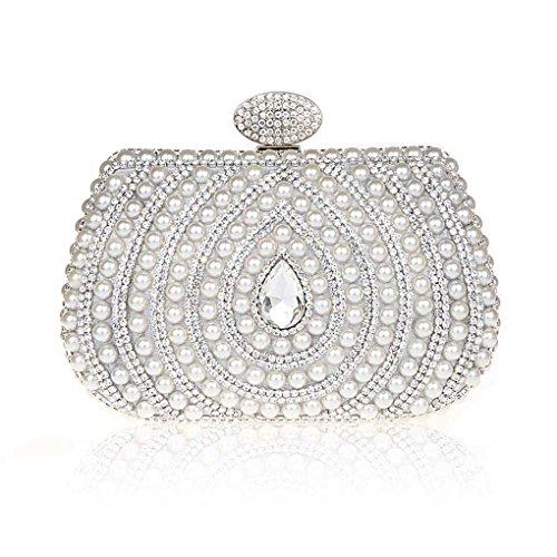 KAXIDY Sera Pochette Cristallo Pearl Imitazione Frizione Sera Di Spalla Cerimonia Nuziale Elegante Eventi (Argento)