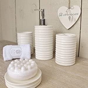 5pc off white bathroom accessories set was 27 for Bathroom decor amazon