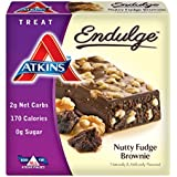 Atkins Endulge Nutty Fudge Brownie Treat Bar, 1.4 oz. Bars, 5 Count