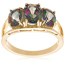 Yellow Gold Mystic Topaz 3-Stone Ring 10k
