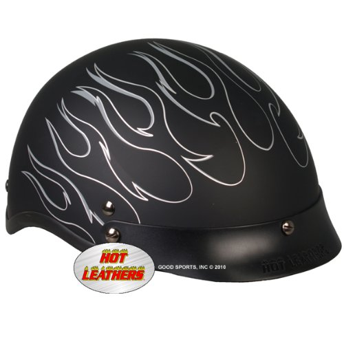 Hot Leathers DOT Approved Reflective Flames Helmet (Black, Medium)