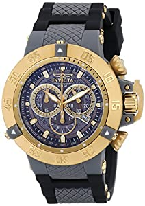 Invicta Subaqua Men's Quartz Watch with Grey Transparant Dial Chronograph Display and Black PU Strap 0930