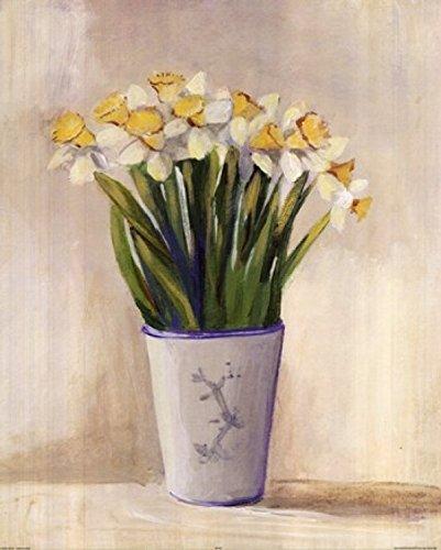 Cuca Garcia - Weiß gelben Narzissen in Vase Kunstdruck (40,64 x 50,80 cm)