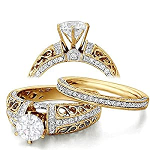 2.10 Carat Round Diamond Engagement Ring Bridal Set Engagement Rings on 14K Yellow Gold