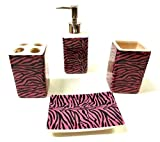4pc Pink Zebra Bathroom Ceramic Accessory Set Lotion/liquid Soap Dispenser, Tumbler, Toothbrush Holder & Soap Dish