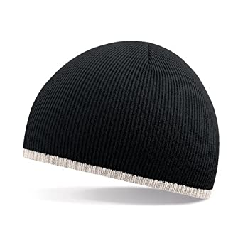 Beechfield 2 tone beanie knitted hat in Black / stone