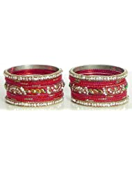 White Stone Studded Red Metal Bangles - Stone And Metal