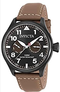 Invicta I-Force Swiss Movement Quartz Watch - Gunmetal case with Brown tone Leather band