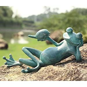 SPI Home 50792 Lazy Frog and Bird Garden Sculpture