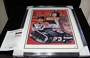 Dale Earnhardt SR. Signed 27 X 33 Sam Bass Print PSA DNA Auto Framed by Kruk Cards