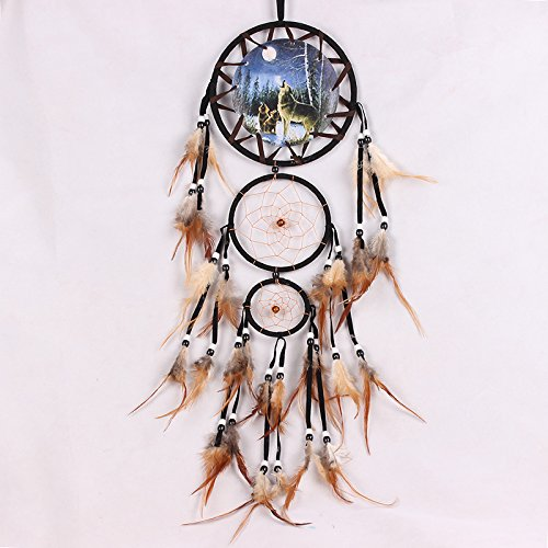 YK Handmade Dream Catcher Wall Hanging Decoration Ornament Dreamcatcher with Feathers (Wolf-2)