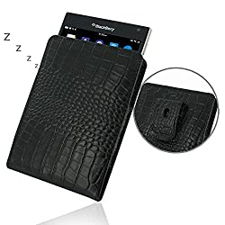Blackberry Passport Leather Case / Cover Protective Carrying Phone Case / Cover (Handmade Genuine Leather) - Vertical Pouch Case (WITH Belt Clip) (Black/Crocodile Pattern) by Pdair