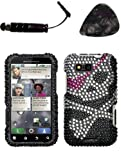 Mobile accessories MOTOROLA MB525 (Defy) Skull Full Diamond Bling Protector Cover Design Snap on Hard Shell Faceplate AND HiShop(TM) Stylus, Guitar Pick/Pry Tool