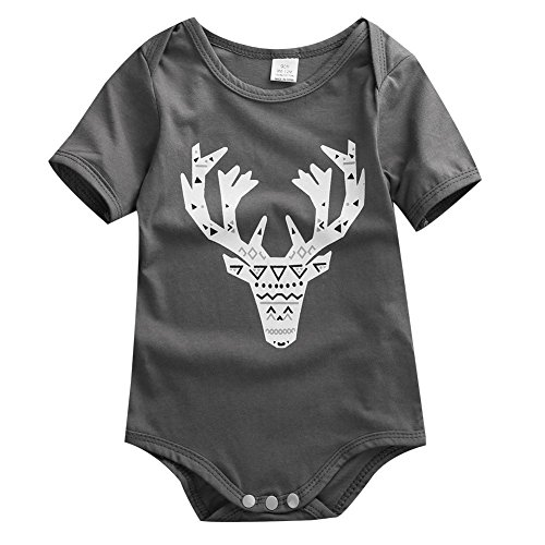 Baby Boys Girls Short Sleeve Cotton Elk Head Bodysuit (70(0-6M))