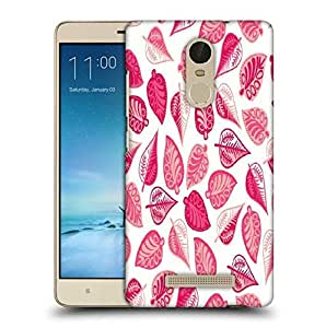 Snoogg Pink Leaves Printed Protective Phone Back Case Cover For Xiaomi Redmi Note 3