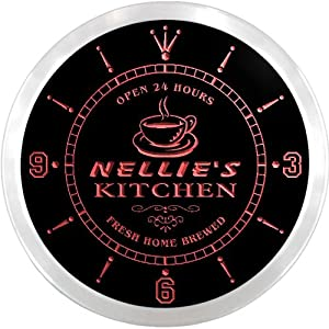 ncpc0238-r Nellie's Coffee Kitchen Open Bar Beer Neon Sign LED Wall Clock