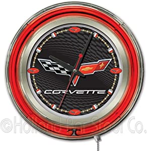 Corvette - C6 15 Double Neon Ring Logo Wall Clock Color: Black Silver by Holland Bar Stool