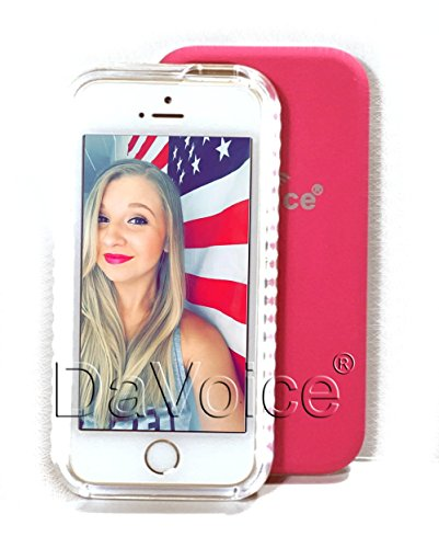 iPhone 6 Plus Light Up Case - iPhone 6 Plus LED Case - Selfie iPhone 6 Case - iPhone 6s Plus Light Up Case - Selfie Flash Phone Case - Strobe Light - DaVoice (Hot Pink)