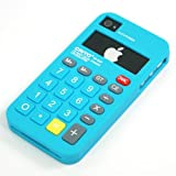 [Total 13 Colors]Sky Blue / Silicon Made Calculator Case Cover for Apple iPhone 4 4G 4S + Free Screen Protector and Charge USB Cable (1771-9)