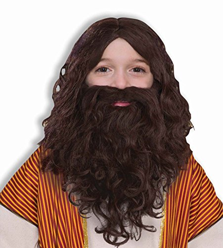Child Jesus Wig Beard Biblical Joseph Brown Costume Accessory Viking Wisemen Boy