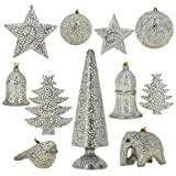 Silver Paper Mache Ornaments Diwali Decor Set of 11 Items