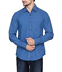 Hypernation Blue Color Casual Printed Shirts for Men