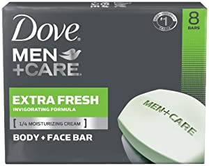 Dove Men + Care Body and Face Bar, Extra Fresh, 4 Ounce, 8 Count