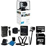 GoPro Hero3: White Edition - (Waterproof Housing) Camera HD Camcorder With 2 Replacement Lithium Ion Batteries + Charger with Car Charger + Monopod + Chest strap for Gopro + 32GB SDHC MicroSD Memory Card Complete Deluxe Accessory Bundle
